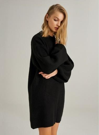 Monamoda Balon Kollu Tunik Triko Elbise Siyah